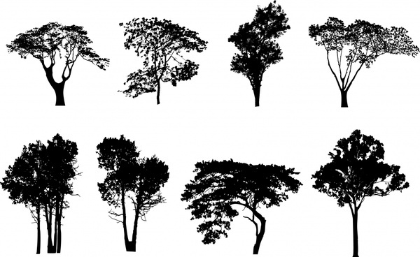 trees icons black silhouette sketch