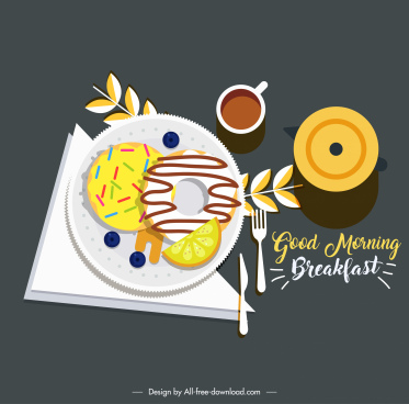 morning breakfast banner colorful classical flat sketch