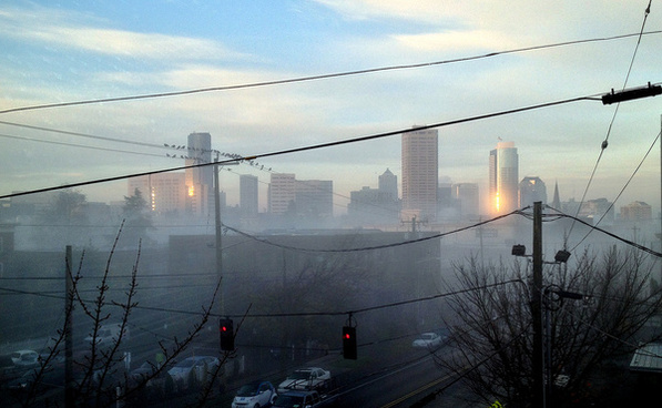 morning fog lifting over downtown seattle 112513