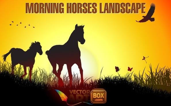 Morning Horses Landscape