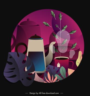 morning tea painting dark colorful vintage flat design