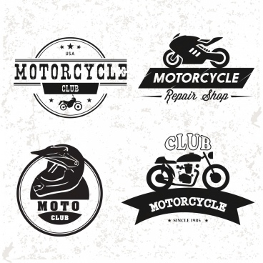 mortorcyle club logo collection flat vintage style