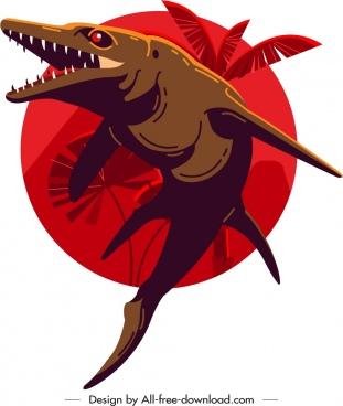 mosasaurus dinosaur icon dark classical design