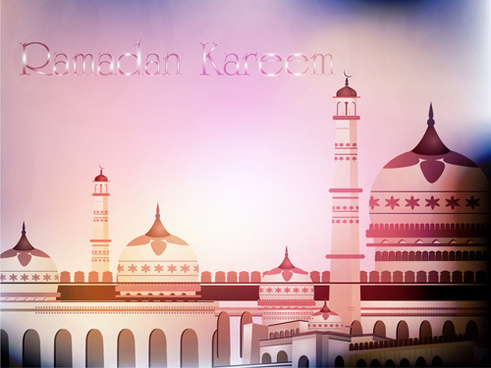 mosque landscapes design vector set