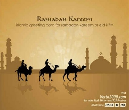 mosque with camels background vector design