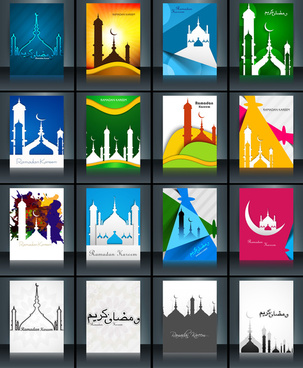 mosque with colorful eid mubarak brochure reflection collection card set template beautiful vector
