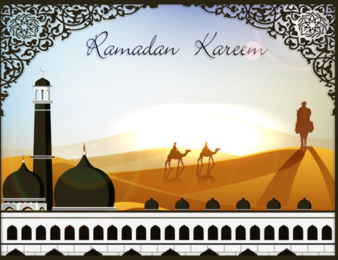 mosque with desert design vector
