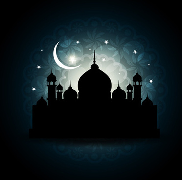 mosque with night vector backgrounds