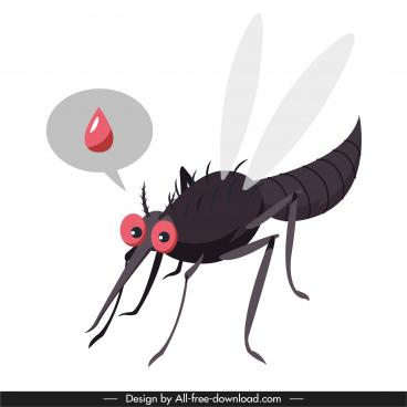 mosquito icon blood sketch closeup cartoon design