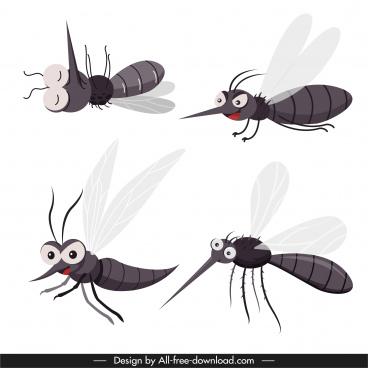 mosquito icons funny cartoon sketch