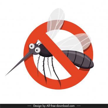 mosquito killing sign template bright flat closeup sketch