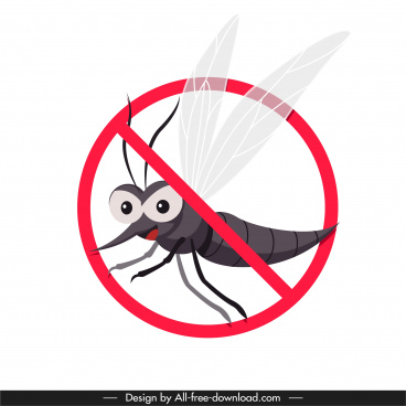 mosquito prevention sign template circle cross sketch