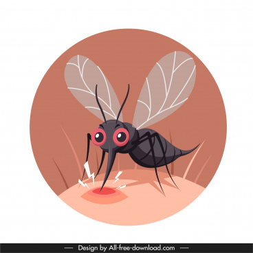 mosquito protection banner sting sketch cartoon design