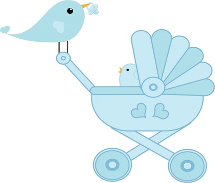 mother and baby affection vector illustration with birds