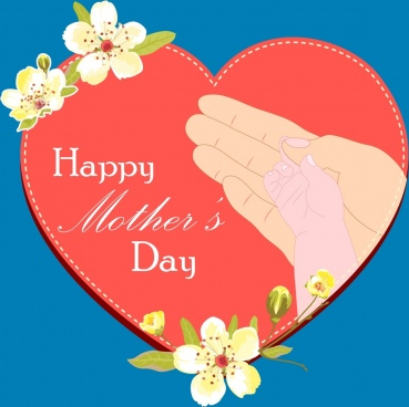 mother day backdrop red heart holding hands icons