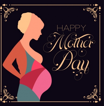 Mother Day Background Pregnant Woman Icon Colorful Silhouette