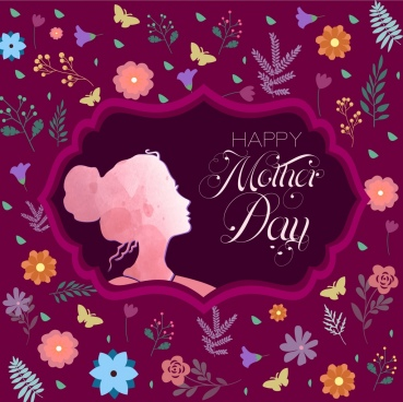 mother day background violet backdrop flowers butterflies decoration