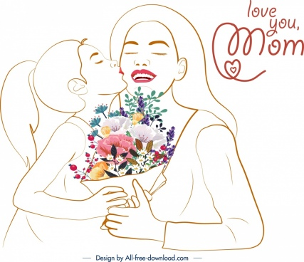mother day banner daughter kissing mom handdrawn sketch