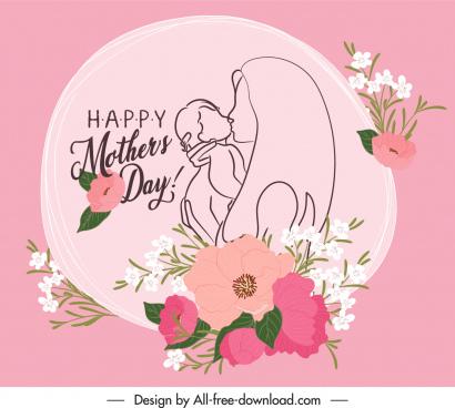 mother day banner elegant classical handdrawn floral decor