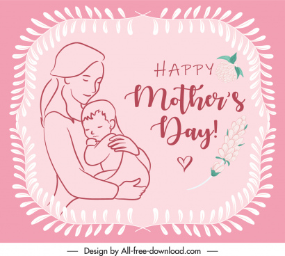 mother day banner elegant cute handdrawn sketch