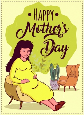 mother day banner pregnant woman icon retro design