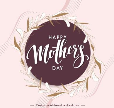 mother day banner template elegant floral wreath sketch