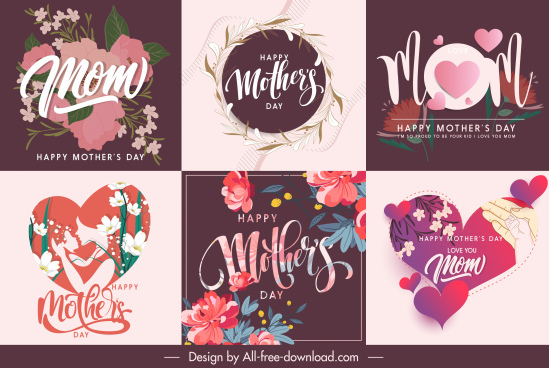 mother day banners elegant floral heart decor