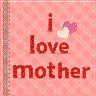 mother day card design with roses and hearts