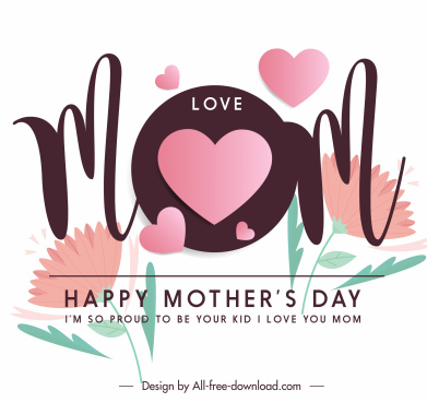 mother day card template calligraphy hearts botany decor