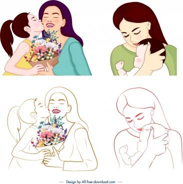 mother day icons affection symbol design handdrawn sketch