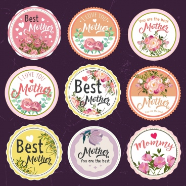 mother day labels collection colorful flowers decoration
