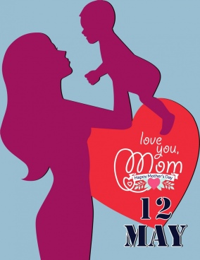 mother day poster mother and baby silhouettes decoration