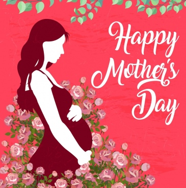 mother day poster pregnant woman flowers decoration