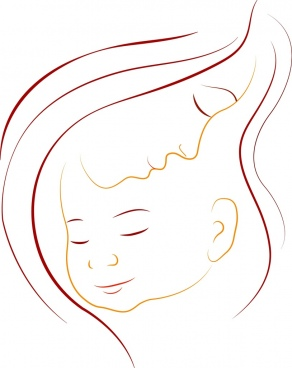 mother kid background colored curves outline