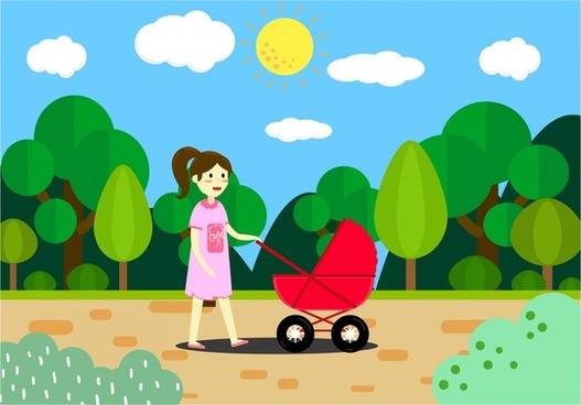 mother walking with stroller drawing in colors design