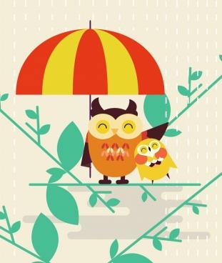 motherhood background stylized owl umbrella icons flat design