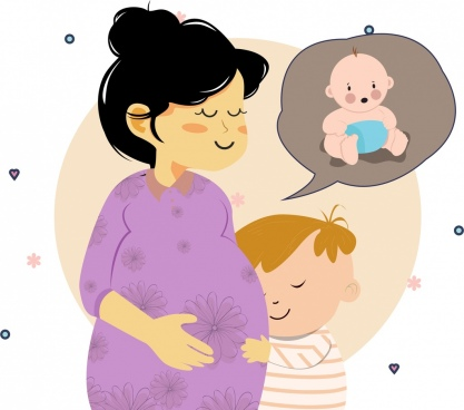 motherhood drawing pregnant woman baby icons colored cartoon
