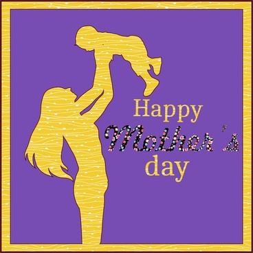 mothers day banner design silhouette on violet background