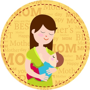 Mothers day banner design with woman suckling child