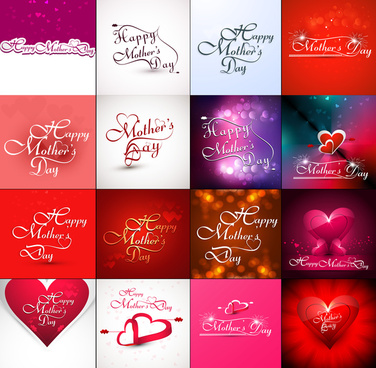 mothers day collection presentation hearts concept colorful card background vector