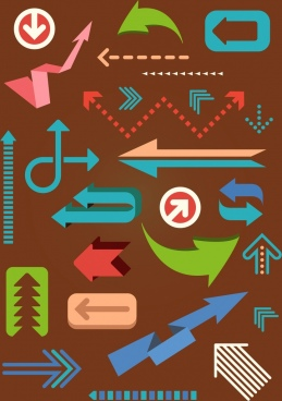 motion design elements various arrows shapes icons