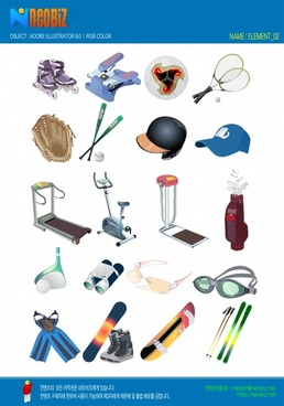 sports accessories advertising banner colored 3d objects icons