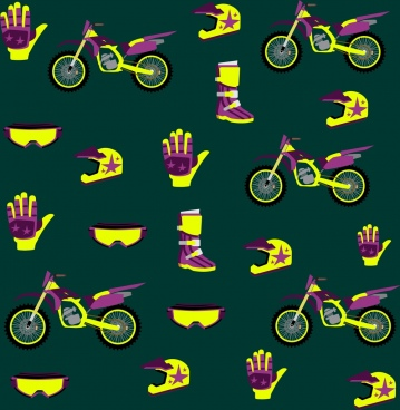 motorbike accessories background yellow violet repeating design