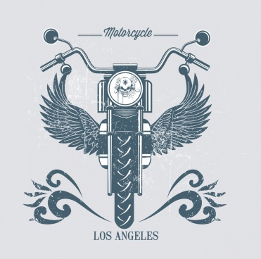 motorbike advertisement retro design wings decoration