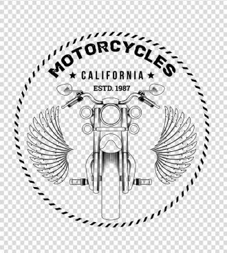 motorbike advertising black white classical design wings icon