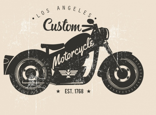 motorbike advertising black white retro design