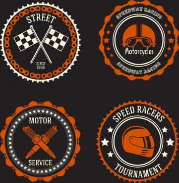 motorbike advertising stamps circle serrated design dark decor