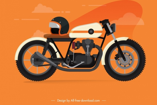 motorbike icon classical stylish decor