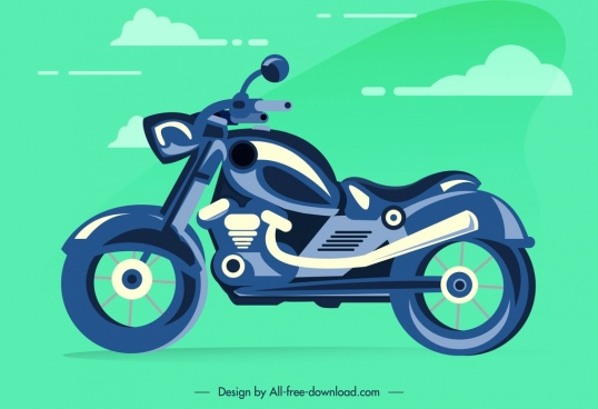 motorbike icon template colored flat sketch modern stylish