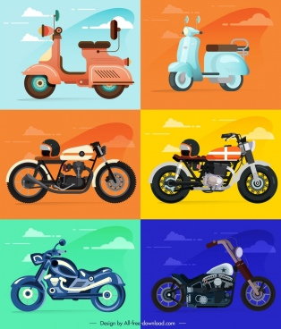 motorbike icons templates colorful classical modern sketch